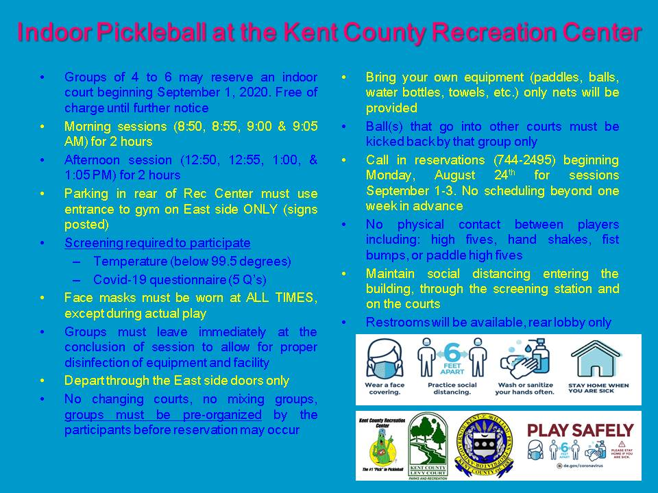 Indoor Pickleball At The Kent County Recreation Center